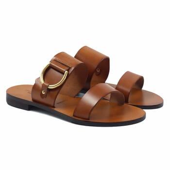 sandales plates boucle cuir camel jules & jenn