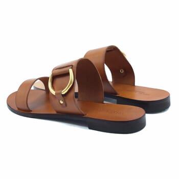 vue arriere sandales plates boucle cuir camel jules & jenn