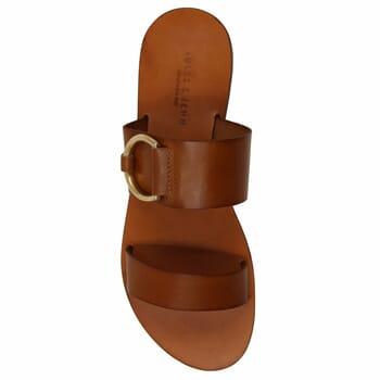 vue dessus sandales plates boucle cuir camel jules & jenn