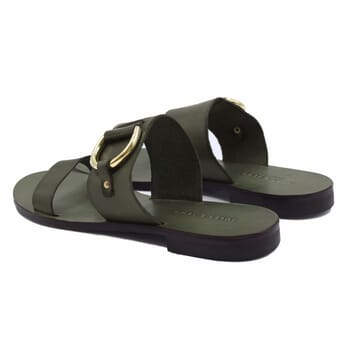 vue arriere sandales plates boucle cuir vert jules & jenn