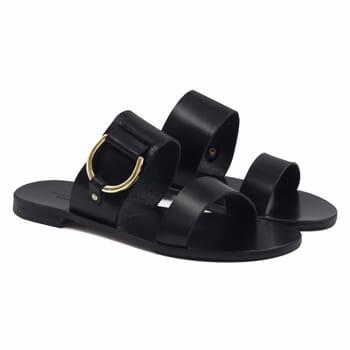 sandales plates boucle cuir noir jules & jenn