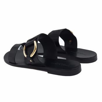 vue arriere sandales plates boucle cuir noir jules & jenn