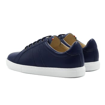 vue arriere baskets made in france cuir graine bleu jules & jenn