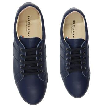 vue dessus baskets made in france cuir graine bleu jules & jenn