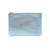 pochette cuir graine metallise bleu jules & jenn
