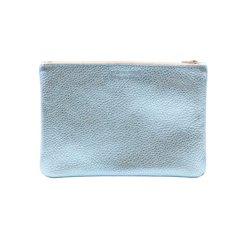 vue arriere pochette cuir graine metallise bleu jules & jenn