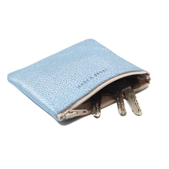 vue interieur pochette cuir graine metallise bleu jules & jenn