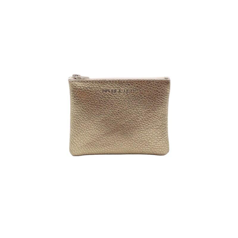 pochette cuir graine metallise dore petit modele jules & jenn