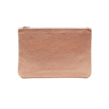 pochette cuir graine metallise rose jules & jenn