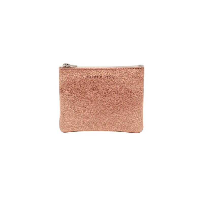 pochette cuir graine metallise rose petit modele jules & jenn
