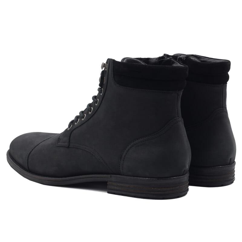 vue arrière de la rangers boots à col cuir nubuck noir jules & jenn