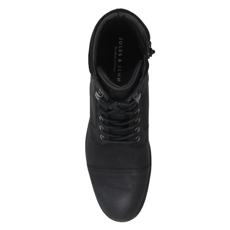 vue de dessus rangers boots à col cuir nubuck noir jules & jenn
