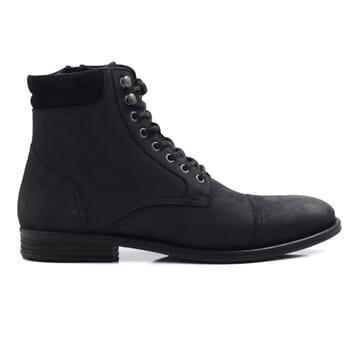 vue extérieure rangers boots à col cuir nubuck noir jules & jenn