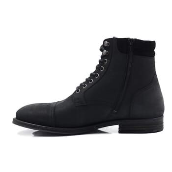 vue intérieure rangers boots à col cuir nubuck noir jules & jenn