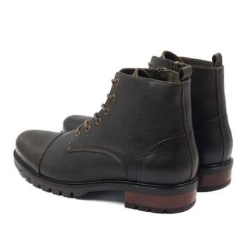 vue arriere ranger boots cuir graine kaki jules & jenn