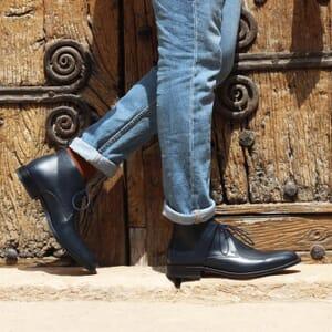 vue portee desert boots cuir bleu jules & jenn