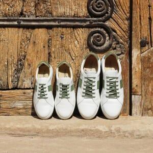 vue posee baskets made in France cuir blanc kaki jules & jenn