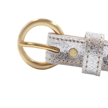 vue boucle ceinture boucle or cuir metallise argente