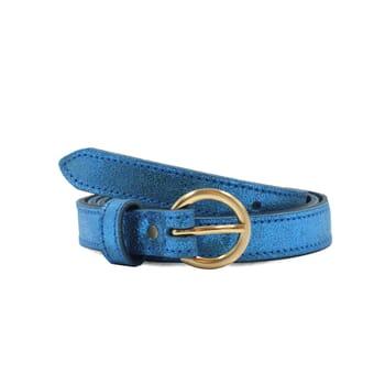 ceinture boucle or cuir metallise bleu