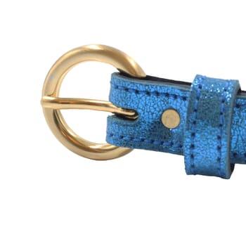 vue boucle ceinture boucle or cuir metallise bleu