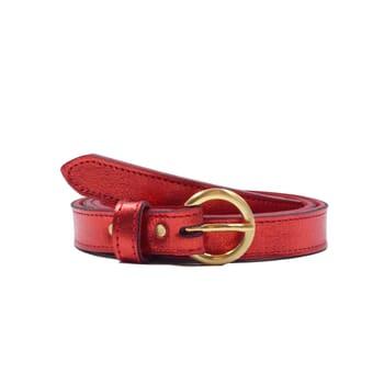 ceinture boucle or cuir metallise rouge