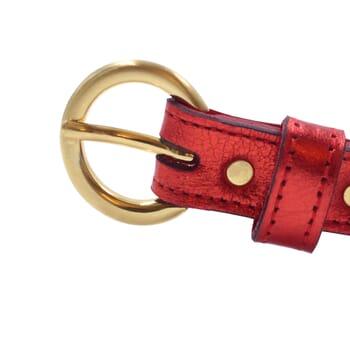 vue boucle ceinture boucle or cuir metallise rouge