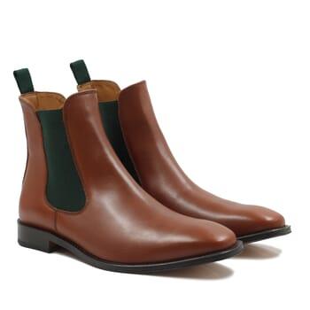chelsea boots cuir cognac vert jules & jenn