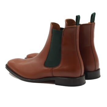 vue arriere chelsea boots cuir cognac vert jules & jenn