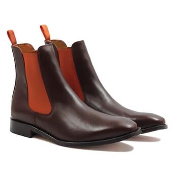 chelsea boots cuir marron orange jules & jenn