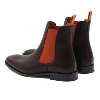 vue arriere chelsea boots cuir marron orange jules & jenn