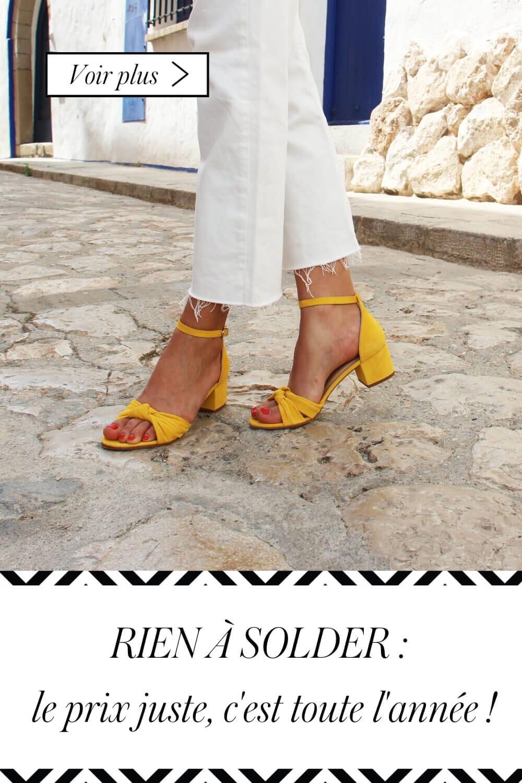 sandales noeud en cuir daim jaune jules & jenn