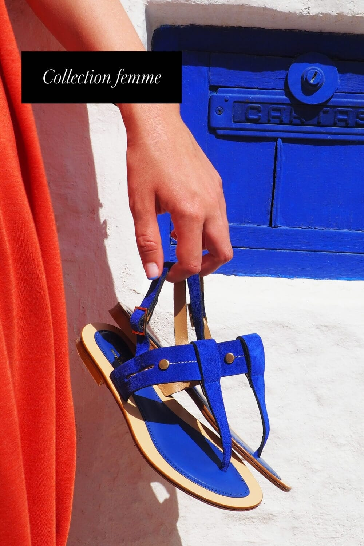 sandales tropeziennes cuir daim bleu jules & jenn