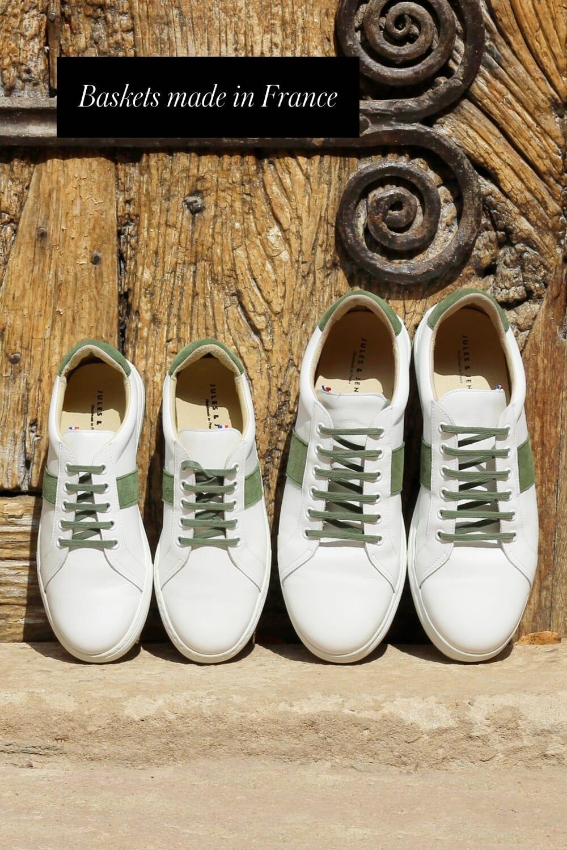 baskets made in france cuir blanc kaki jules & jenn