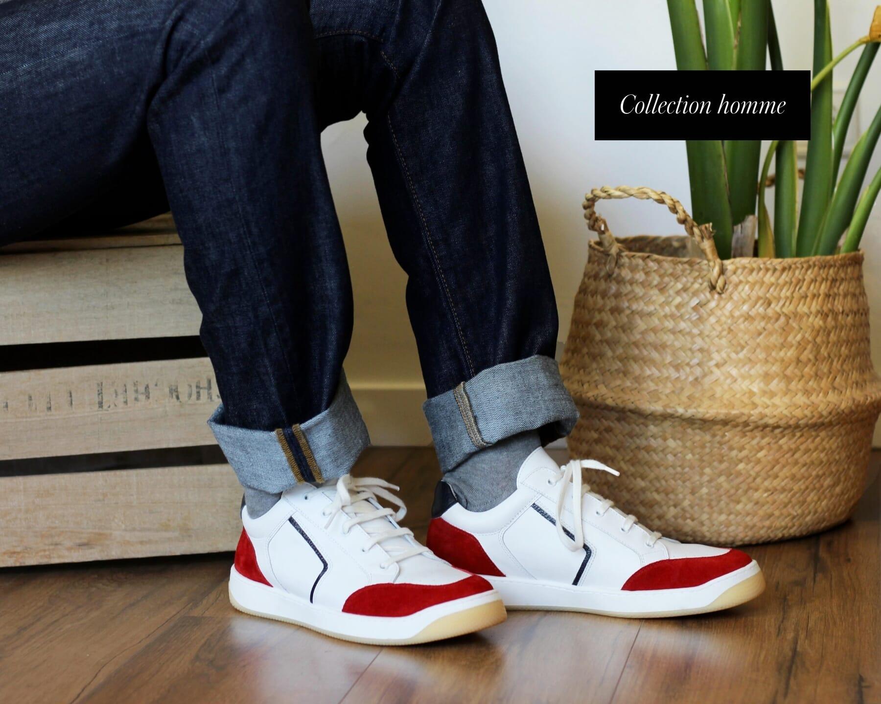 baskets retro homme cuir blanc rouge jules & jenn