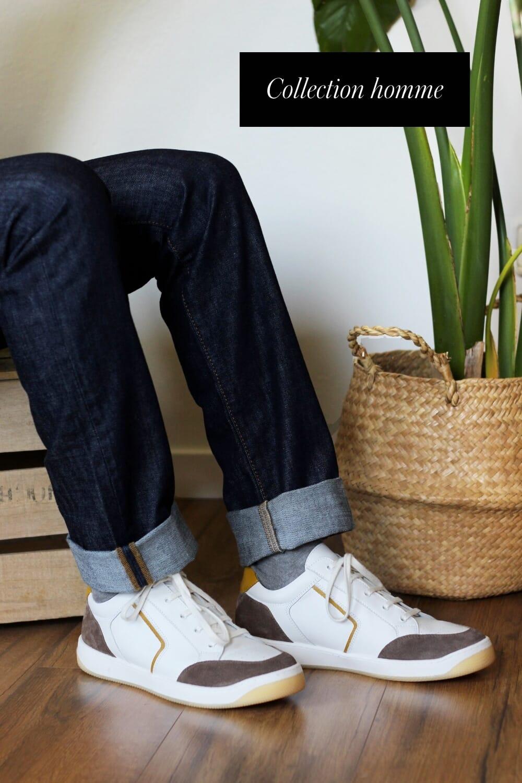 baskets retro homme cuir blanc taupe jules & jenn
