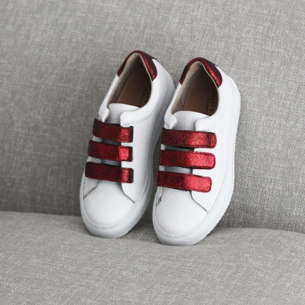 baskets scratch cuir blanc rouge jules & jenn