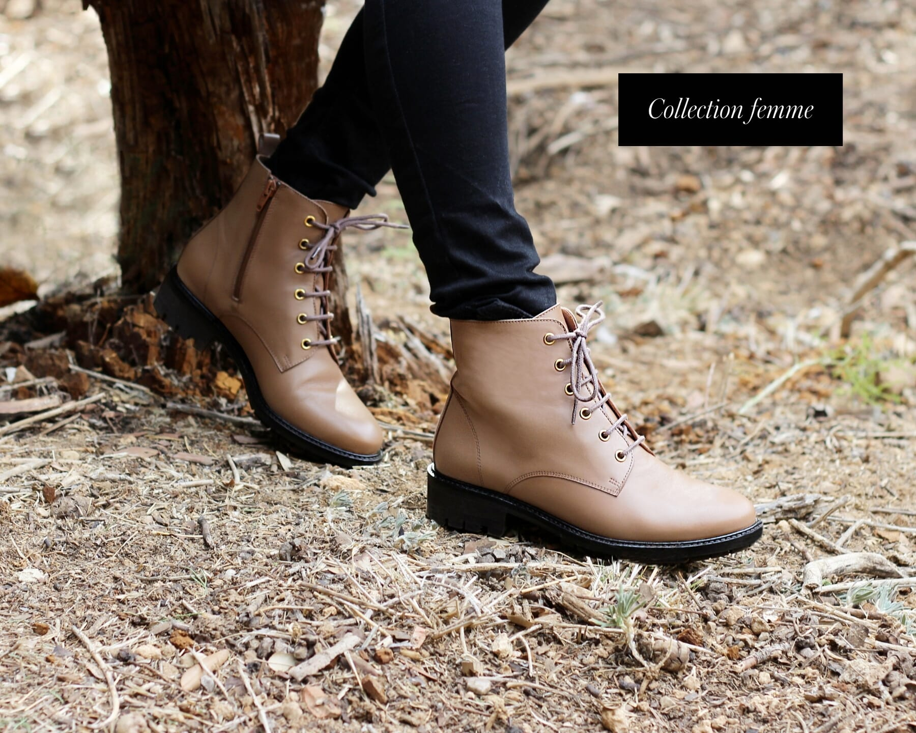 bottines plates lacets cuir taupe jules & jenn