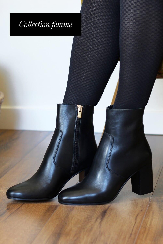bottines talon essentielles cuir noir jules & jenn
