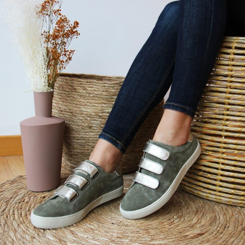 baskets scratch cuir vert kaki dore jules & jenn