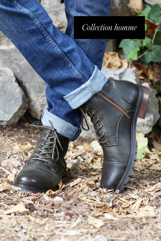 ranger boots homme cuir graine kaki jules & jenn
