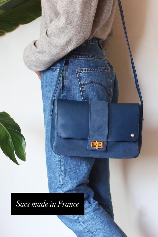 sac bandouliere cuir bleu jules & jenn